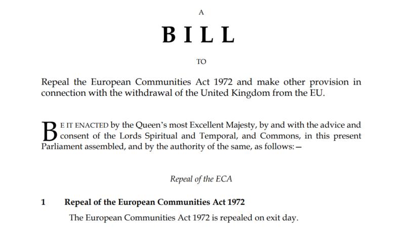 Projekt ustawy European Union (Withdrawal) Bill